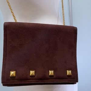 Brown Suede Cross Body Bag